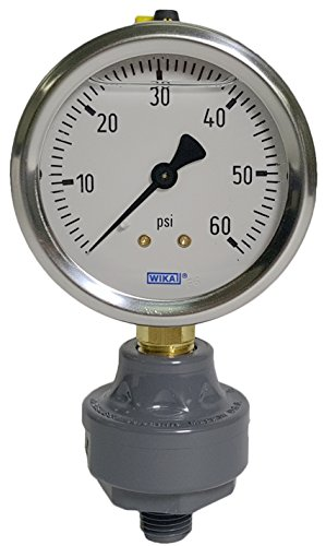 Marquest MTG-22060SB-PVC Pool Spa Filter Gauge, 0-60 PSI, PVC Isolator, Lower Mount, 1/4