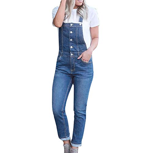 Women Casual Denim Bib Slim Pants Overalls Jeans Straps Demin Trousers Jumpsuit (L) -