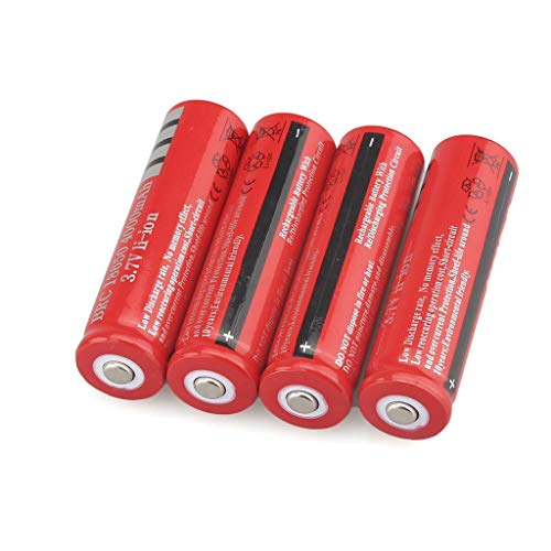 Fan-Ling 4pcs Li-ion Battery 18650, 4000AMH Service Capacity,3.7V Battery Voltage Cylindrical Lithium-ion Rechargeable Battery Batteries,Redcolor,for LED Flashlight (Emergency Auto Starter)