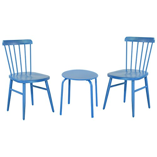 Giantex 3Pcs Outdoor Bistro Round Table Chair Furniture Set Garden Lawn Coffee Table (Blue) price