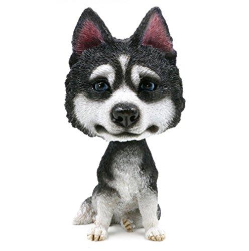 Huskies Huskie Head - BobbleHead Husky Huskie Dog Ornament Figurine Home Car Decor Bobbing Head Dog Figure