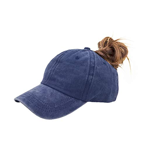 Eohak Ponytail Baseball Hat Distressed Retro Washed Cotton Twill (Denim Blue)