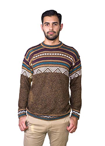 Raymis Alpaca Wool Hand Knitted Cuzco Men´s Round Neck Peruvian Sweater (Brown, Medium) (Alpaca Peruvian Sweater)
