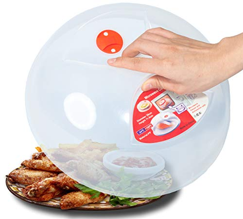 Large Microwave Plate Cover Easy Grip Microwave Splatter Guard Lid With Steam Vent and BPA Free & 11.5 Inch, Dishwasher Safe