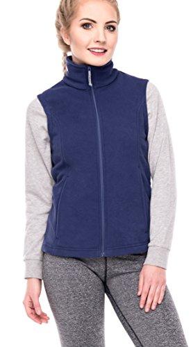 (Oalka Women's Spring Fall Full Zip Fleece Vest Navy Blue)