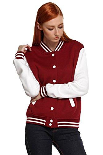 Leather Baseball Jacket (Etuoji Meaneor Women's Winter Bomber Varsity Baseball Jacket Burgundy XXL)