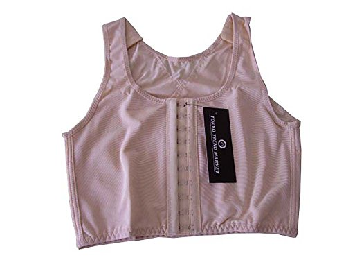 TOKYO-T Womens Chest Binder 3 Rows Cosplay Flat Front Hook Tank (M, Beige) (M&m Tank Costume)