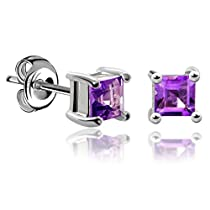 JewelryPalace Girl's Women Square Natural Created Blue Sapphire 92...