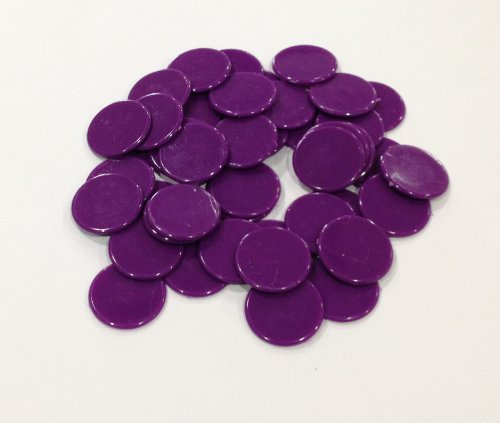 Token Plastic (Plastic Counters: Purple Color Gaming Tokens (Hard Colored Plastic Coins, Markers and Discs for Bingo Chips, Tiddly Winks, Checkers, and Other Board Game Playing Pieces))