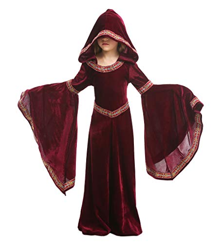 Tremour Queen, Royalty, Renaissance, Knight Medieval Princess Girls Costume Wine Red ()