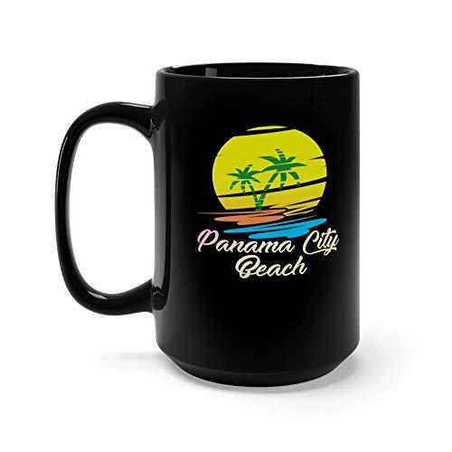 Panama City Beach Mug Retro 15 oz Black Ceramic Glossy Coffee Tea Mug Funny Florida Beach Gift For Men Women