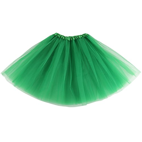 [Lanzom Women's Classic Elastic 3-layered Tulle Tutu Skirt Ballet Party Costume (Green)] (Green Tutus For Adults)