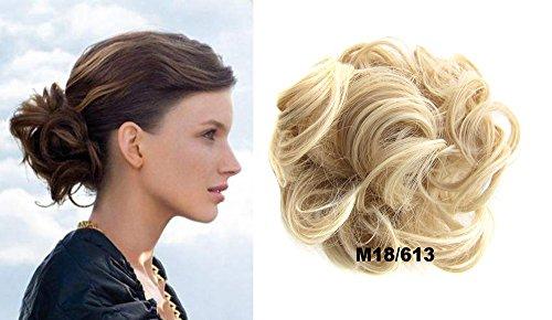HI GIRL Q5 30g Short Synthetic Hair Bun Updo Hairpiece Ponytail Bun Extensions Scrunchy Scrunchie Wavy Curly Messy Donut Hair Chignons Hair Piece Wig #M18-613