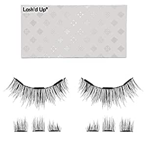 Lash'd Up Magnetic Eyelashes Without Eyeliner 3 Magnets (Can also be worn as Dual Magnets) Full Eye Snap-on Set Soft Faux Silk Vegan (Length + Volume)