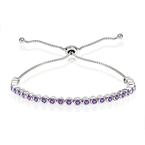(GemStar USA Sterling Silver African Amethyst 2mm Round Bezel-Set Adjustable Dainty Tennis Bracelet)
