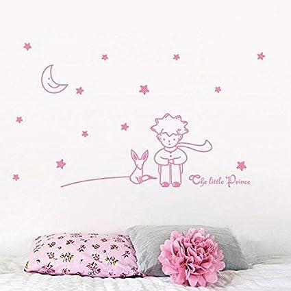 Beautyjourney Stickers Muraux Chambre Bebe,ÉToiles Moon Le Petit Prince Boy  Wall Sticker DéCoration Murale DéCo 96*42cm (rose vif)