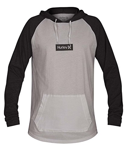 Men's Premium One and Only Box Long Sleeve Hoodie T-Shirt, White//Heather Grey, L (Hurley White Sweatshirt)