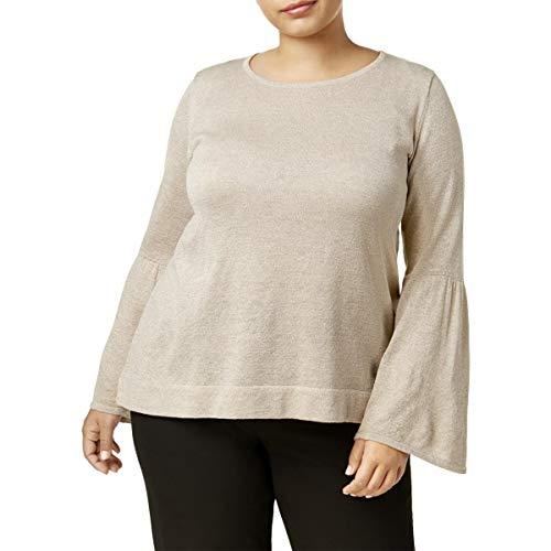 Calvin Klein Womens Plus Metallic Bell Sleeves Pullover Sweater Brown 1X