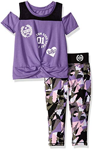 XOXO Girls' Little 2 Piece Performance Top and Legging Set, Team Lilac/Black, 5/6