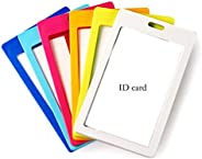 6PCS Candy Color ID Badge Card Holder Plastic Nametags Pass Badge Holder Pocket Pouches with 1 ID Window and 1