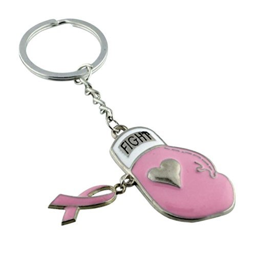 Pink Ribbon Boxing Glove Keychain Cancer Survivor Pink Ribbon