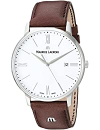 Men's 'Eliros' Swiss Quartz Stainless Steel and Leather Casual Watch, Color:Brown (Model: EL1118-SS001-113-1)