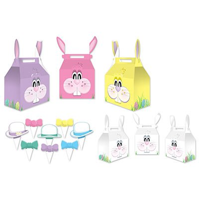 Beistle Bunny Favor Boxes, 3 by 51/4-Inch, Multicolor