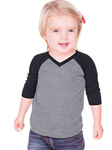 Kavio! Unisex Infants Sheer Jersey Contrast V Neck Raglan 3/4 Sleeve
