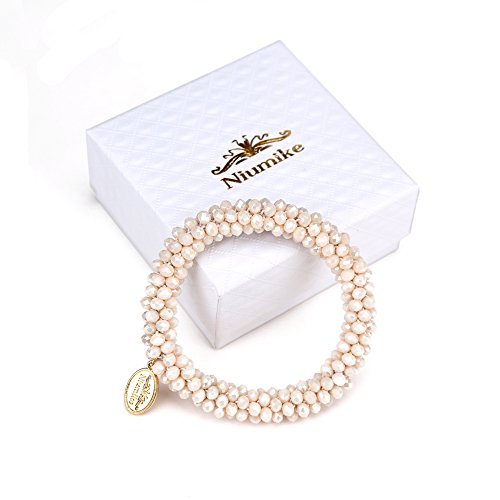 Niumike Braided Crystal Bracelets For Women,100% Hand-Made Seed Beads Bracelet, Box (Cream)