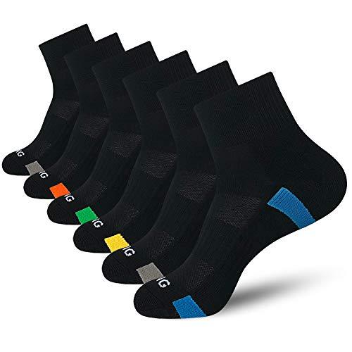 BERING Men's Athletic Cushion Quarter Socks for Running, Hiking, Work (6 Pack)