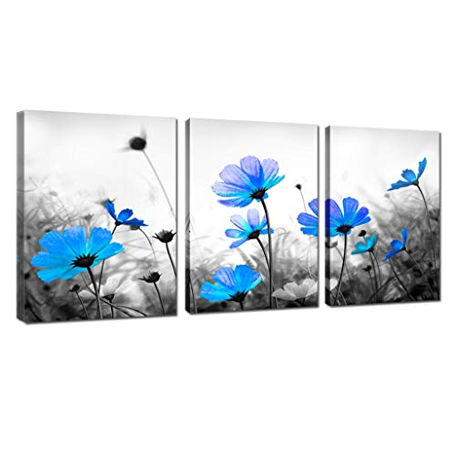 Blue Cosmos Daisy Flower Canvas Art Prints Salon Theme Black and White floral Abstract Painting Still Life Wall Art for Home Decor Framed Ready to Hang (12x16inchx3)