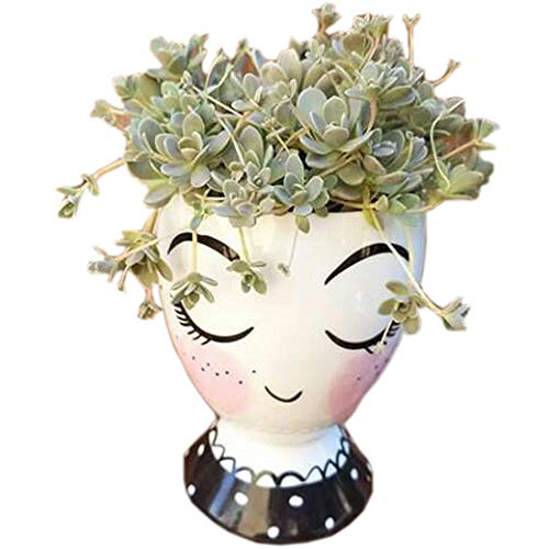 - Better-way Ceramic Face Floral Vase Modern Decorative Nordic Planter Tabletop Centerpiece Shy Girl Eyelashes Cartoon Pot for Herb Succulent Small Plant Container (One Pack)