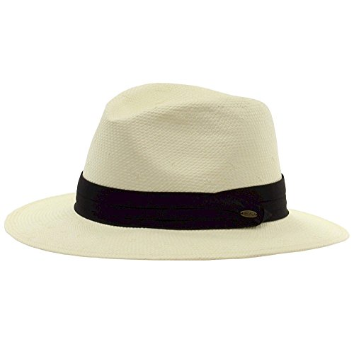 (Scala Men's Natural Toyo Safari With Pleated Trim Hat Sz: S/M)