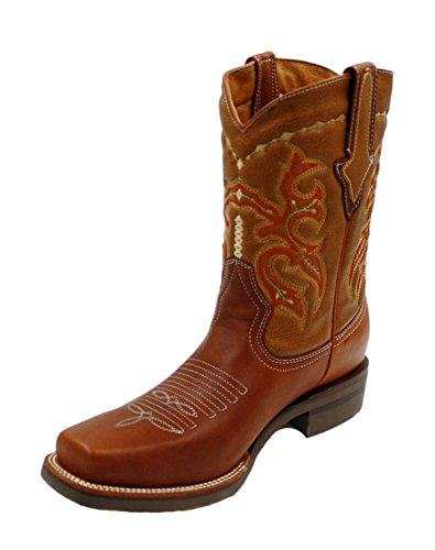Mens Genuine Leather Cowboy Rodeo Western Boots Tan