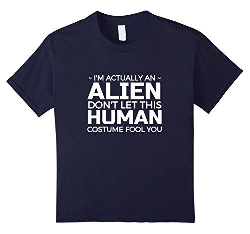 Kids I'm actually an alien funny Halloween costume Tee Shirt 4 Navy