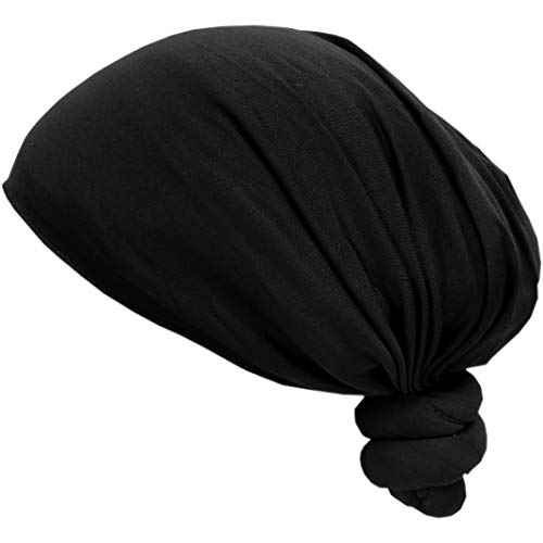 SSK Hand-Made Pre-Tied Knotted Head Wrap Scarf (Black)