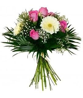 ramo flores naturales muy frescas elaborado con rosas de color rosa gerbera blanca
