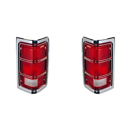 Fits Dodge Ram/Charger/Trail Duster/Pickup 81-2012/1/87 Tail Light Assembly Unit Pair Driver and Passenger Side Chrome Border ()