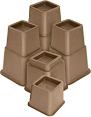 Utopia Bedding Premium Adjustable Furniture Risers - 3, 5 or 8 Inch Bed Riser, Table Riser, Chair Riser or Sofa Riser - 8 Piece Set (Brown)