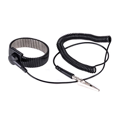 Black Anti Static Ground Wrist Strap Band ESD Metal Bracelet with Alligator Clip For Electronics Repair Work Tools by Isguin (Image #3)