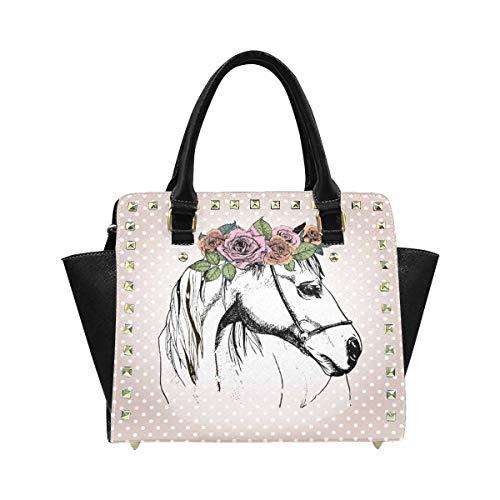 InterestPrint Women's Horse Wearing the Floral Crown Polka Dot Zip Tote Shoulder Handbag Hobo Crossbody Bag