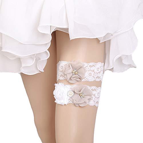 Kalolary Wedding Garter for Bride, Strecth Lace Wedding Garter Set Wedding Prom Garter with Pearl Flower(White)