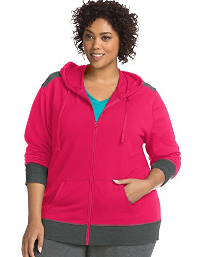 - Just My Size Women's Plus Size Active French Terry Full-Zip Hoodie, pop Art Pink/Granite Heather, 2X