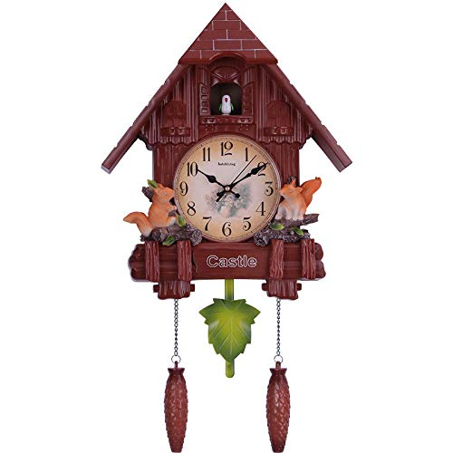 (Qia Retro Pastoral Cuckoo Clock, Report Punctually Wall Clock Silent Wall Clock for Wall Art Home Living Room Kitchen Office Decoration Etc,A)