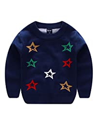 Girls Long Sleeve Sweater Crewneck Color Stars Pattern Pullover Hoodie 2-7T