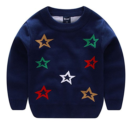 Wei Juan Girls Sweater Sweatshirt Colorful Stars Pattern Pullover Ribbed Hem Trim Neat Stitching Outfit 6-7T Navy Blue