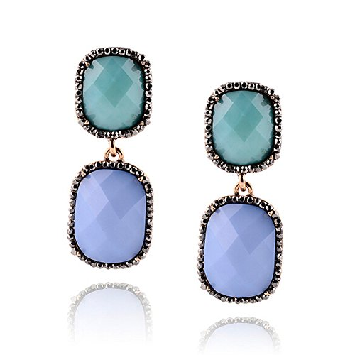 Elakaka Women's Fashion Gemstone Earrings?Blue? (Trifari Coral Bracelet)