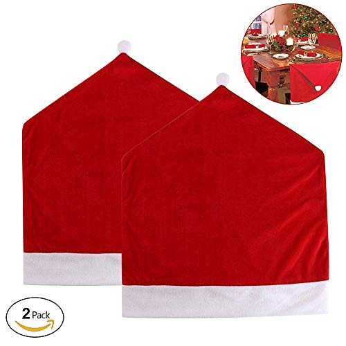 Christmas Santa Hat Chair Covers, Santa Hat Chair Covers, Red Hat Chair Back Covers Kitchen Chair Covers Sets for Christmas Holiday Festive Decor, Christmas Decorations Chair Covers   2pc