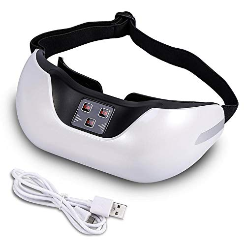 GLgl Eye Massager, 3D Charge TV Force Recovery Training Pulse Magnetic Therapy Myopia Eye Mask, Eliminate Fatigue Head Pressure Treatment Eye Care Instruments,White