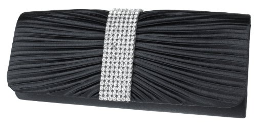 Girly HandBags schwarz Kohle Diamanten Satin-Abend-Handtasche-Party Hochzeit Grau Gold Silber (Schwarz)